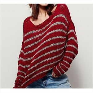 Free People Over and Easy Striped Crop Sweater